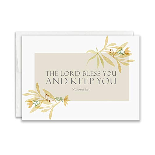 Religious Thank You Cards with Bible Verse - Watercolor Scripture Design - Pack of 24 - Rectangle