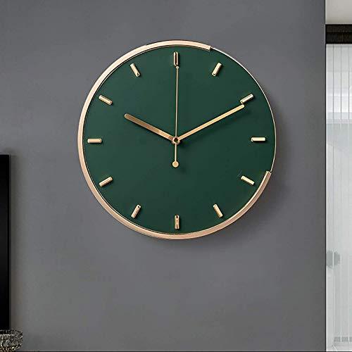 JFFFFWI Reloj de Pared de Metal silencioso nórdico, Reloj Decorativo Que no Hace tictac, Funciona con Pilas, para Sala de Estar, Dormitorio, Escuela, Verde Militar, diámetro 31 cm (12 Pulgadas)