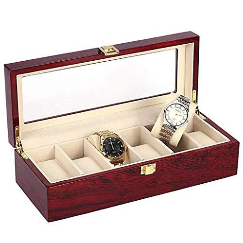 SHAMATE Caja de reloj de madera de 6 ranuras, organizador de vitrina, regalo de almacenamiento para mamá Amigo del padre, amante