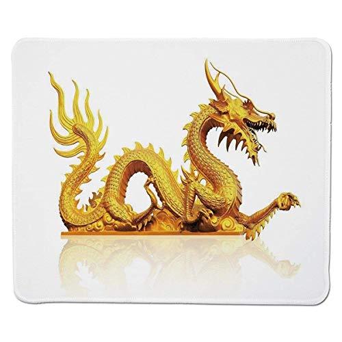 Yanteng Gaming Mouse Pad Alte China-Dekorationen, Statue der legendären Drachen-Fantasie-Figur-Kulturkunst dekorativ, Goldgelb-weißer genähter Rand