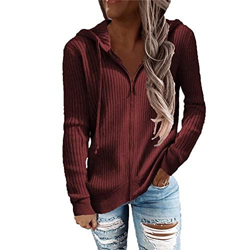 LYAZFC suéter con Capucha de Manga Larga con Cremallera Suelta a Rayas de Color sólido Informal de otoño e Invierno para Mujer