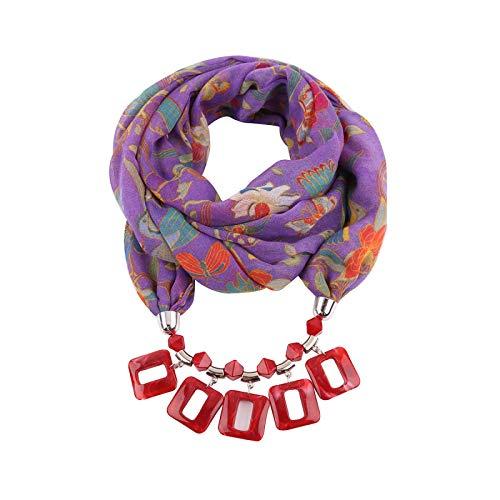 FENGHUAN Bufanda De Otoño E Invierno Anillo Colgante De Resina Europea Y Americana Babero Estilo Étnico Joyería Collar Accesorios Decoración Rojo Púrpura