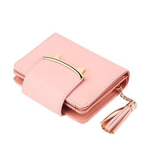 Losenlli Lindo Orejas de Gato Trifold Cuero de LA PU Corto de Las Mujeres de La Borla de la Historieta de La Cremallera Embrague Monedero para Coin Card Holder Bag