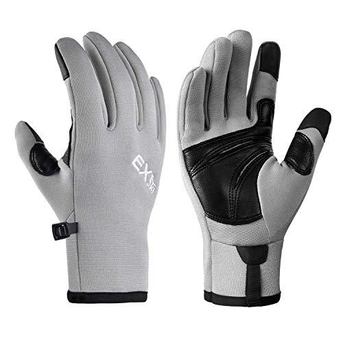 EXski Laufhandschuhe Herren Damen Touchscreen Handschuhe Outdoor Sport Klettern Wandern Moped Winter Warm Leichte Grau M