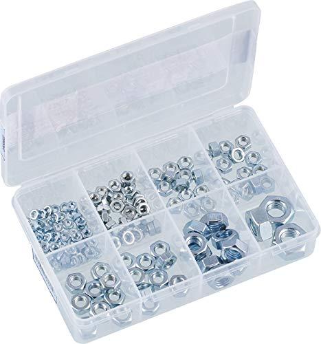 Connex Sechskantmuttern-Sortiment 150-teilig - Diverse Größen im Set (M3, M4, M5, M6, M8, M10) - Verzinkt - Vorsortiert in praktischer Kunststoffbox / Sicherungsmuttern / Sortimentskasten / DP8500033