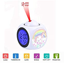 Alarm Clock Projection LED Display Time Digital Children's White Alarm Clock Talking Voice Prompt Thermometer Snooze Function Desk Child's Unicorn Rainbows