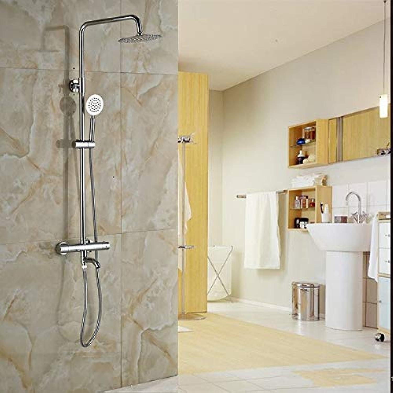 Luxus-Thermostat-Brausegarnitur für die Wandmontage mit 8-Zoll-Regenduschemischer und Handbrause