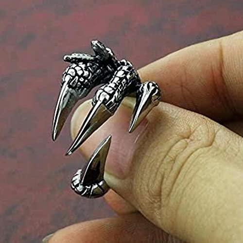 PangTuZiYin 1 unids Titanio Acero águila dragón Garra Halloween cráneo Anillo Hombres dominantes Apertura Rock Animal joyería