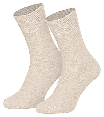 Star Socks Germany 8 Paar weiche Baumwoll-Leinensocken Natura (43-46, meliert)