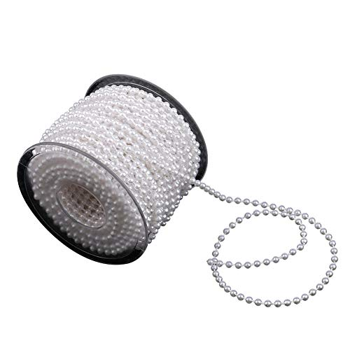 AdasBridal Approx 22 Yards White Pearl Spool Rope,Lmitation Pearl Beads Garland String Wedding Party Decoration DIY Crafts