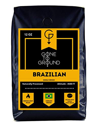 Gone To Ground - Single Origin Coffee   BRAZILIAN   Medium-Light Roast Whole Bean Coffee, Round and Sweet with Notes of Orange Spice, Cocoa and Creme Brûlée, Bold and Smooth, Low Acid, Rich Chocolate Taste (Brazilian, 12 Ounce - Whole Bean)