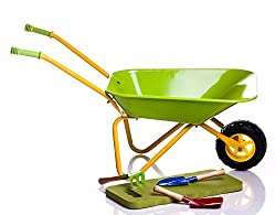 Children's Green Metal Wheelbarrow, tools, and KneePad