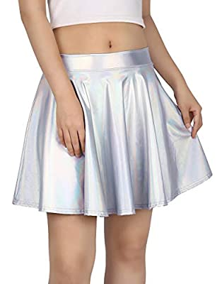 HDE Women's Casual Fashion Flared Pleated A-Line Circle Skater Skirt (Holographic, Small)