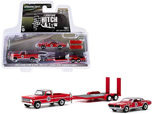 Green Light New 1967 Ford F-100 Pickup Truck Red with Silver Top and 1967 Mercury Cougar #98 Dan Gurney with Flatbed Trailer Racing Hitch and Tow Series 2 1/64 Diecast Model Cars