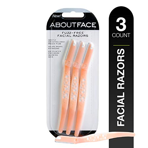 Kai About Face Fuzz-Free Facial Beauty Groomer (3 Per Package); Precision Disposable Razor Smooths Away Peach Fuzz, Shaves Unwanted Hair and Shapes Eyebrows; Safety Guard Prevents Cuts and Irritation