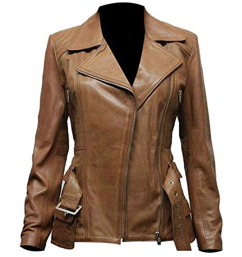 LP-FACON Chaqueta de motorista Brando con cinturón de piel auténtica para mujer, color marrón