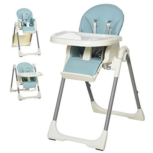 HOMCOM Baby Hochstuhl Babystuhl mit Fußstütze Kinderhochstuhl Tisch mit abnehmbarem Tablett höhenverstellbar und klappbar für 6-36 Monate PP Stahl Blau 55 x 80 x 104 cm