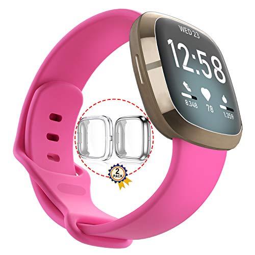Qeei Pure Colour Sport Armband Kompatibel für Fitbit Versa 3/Sense,Pink,Mit 2 Pack Voll Abdeckung TPU Schutz (Silber + Transparent),Größe Kleine