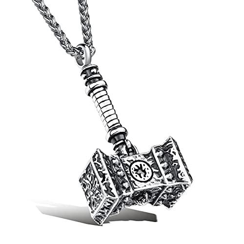 XINHE Collar con Colgante de Martillo de Vikingo Thor para Hombre, joyería de Amuleto pagano Mjolnir de mitología nórdica Vintage,Plata