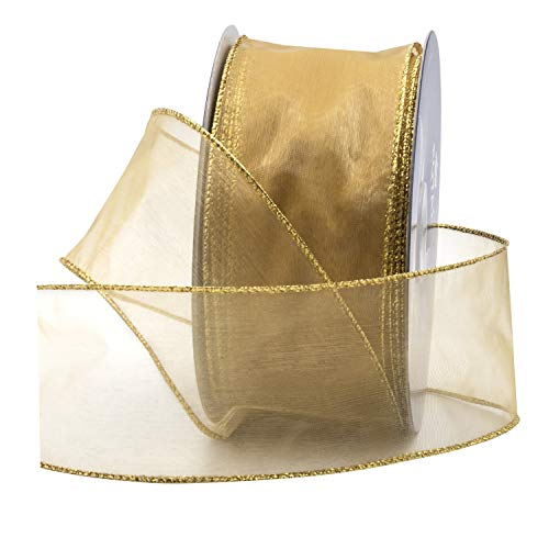 "Gold Organza Wired Sheer Ribbon 2.75"" (#40) for Floral & Craft Decoration, 50 Yard Roll (150 FT Spool) Bulk by Royal Imports"