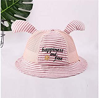 Baby Decoration Hat Baby Ear Stripe Sun Protection Hat Bucket Cap Toddler Breathable Packable Soft Mesh Cap for 1-3 Years Old(Pink) Cute Cap (Color : Pink, Size : 50cm)
