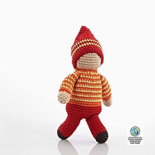 ebble | Handmade Pixie Rattle - Acorn - Red | Crochet | Fair Trade | Pretend | Imaginative Play | Montessori | Machine Washable