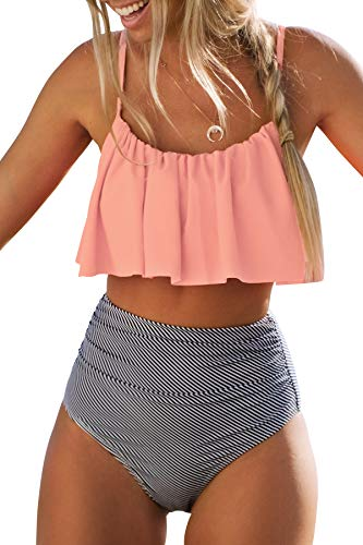 CUPSHE Damen Bikini Set Falbala Rüschen High Waist Bauchweg Bademode Zweiteiliger Badeanzug Rosa L