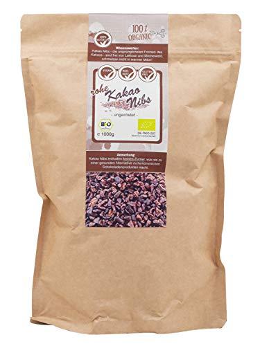 direct&friendly Bio Kakao Nibs ungeröstet, ungesüßt in Rohkost Qualität (1 KG)
