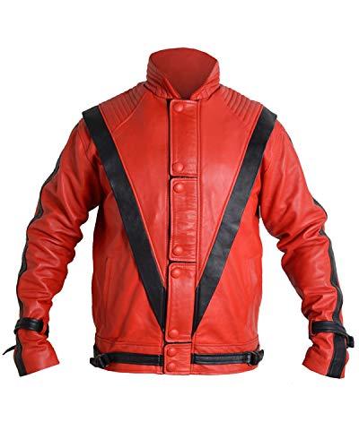 Shop House Michael Jackson Thriller Jacke für Herren aus weichem Kunstleder (PU) (XXS-3XL) MJ Kostüm, Michael Jackson Kostüm Gr. XXX-Large, rot