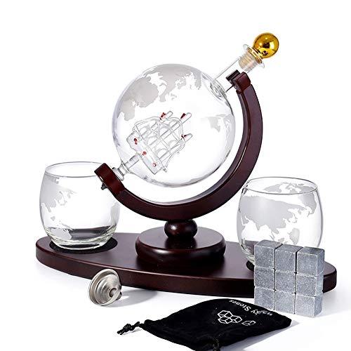 Juego completo de decantador de whisky con 2 vasos de whisky con forma de globo grabado, 9 piedras de whisky y embudo, set de regalo para licor, 900 ml, Tapa de botella dorada, L
