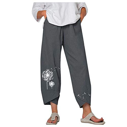 Wide Leg Pants for Women Elastic Waist Casual Capris Crop Pull On Pants Dandelion Harem Trousers Cropped Pants with Pockets(Gray,L)