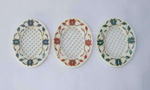 5 x 4 Inches White Marble Soap Holder with Inlay Work Handmade Soap Dish for Kitchen Set of 3 Pieces