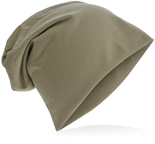 Jersey Slouch Beanie Long Mütze Unisex Unifarbe Herren Damen Trend Beanie-Unifarbe-Sand