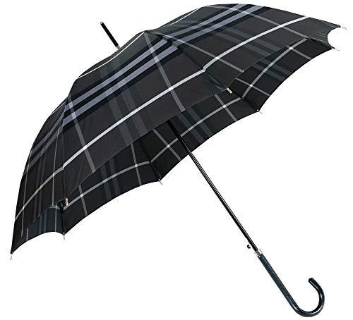 [バーバリー] BURBERRY カバー付きチェック柄ジャンプ式雨傘 グレー系