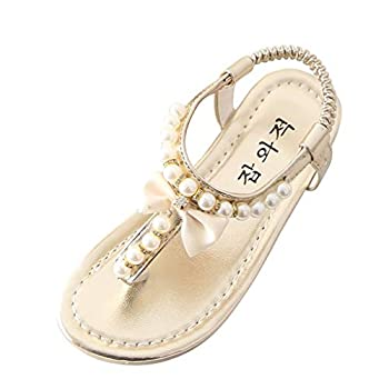 Kehen- Little Kid Toddler Girls Gladiator Rhinestone Pearl Flat Sandals Thong Shoes with Bowknot Gold