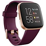 Fitbit Versa 2 Health and Fitness Smartwatch with Heart Rate, Music, Alexa Built-In, Sleep and Swim Tracking, Bordeaux/Copper Rose, One Size (S and L Bands Included)