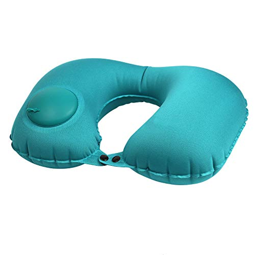 ZHAOZCL Inflatable Neck Pillow Lightweight Travel Pillow,Press Ways Portable Pillow, Neck Support Cushion For Camping, Hiking, Office Nap(Peacock Blue)