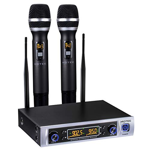 Hotec 64 Channel Dual UHF Wireless Microphone System, Long Distance 150-200Ft, 16 Hours Continuous Use, Over PA, Mixer, Speaker, Karaoke Machine For DJ, Church, Home, Karaoke, Business Meeting (H-K26)
