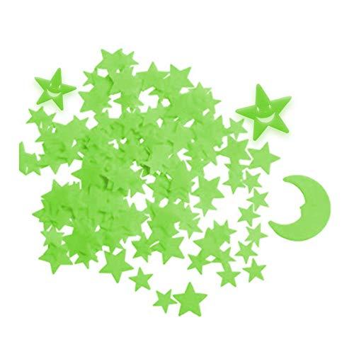 Zueyen 212 pegatinas de estrellas que brillan en la oscuridad para techo, pegatinas adhesivas 3D de estrellas y luna brillantes para dormitorio infantil, pegatinas de estrellas luminosas para