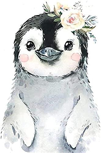 YHX926 Kit de Punto de Cruz,11CT Estampado Kit punto de cruz con Hilos,Pingüino,para niños o adultos principiantes,DIY Kits de bordado para Decoración hogareña 40×50cm