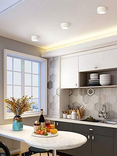 Hermoso 3 PAQUETE 5W Foco de Downlight, Foco de techo LED de superficie de baño, accesorios de aluminio anti deslumbramiento decoración de la iluminación de techo, lámpara de acento de interior cálida