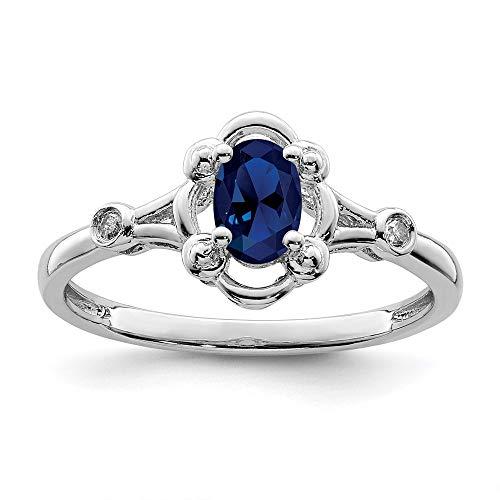 Ryan Jonathan Fine Jewelry Anillo de plata de ley con zafiro y diamante, talla Q