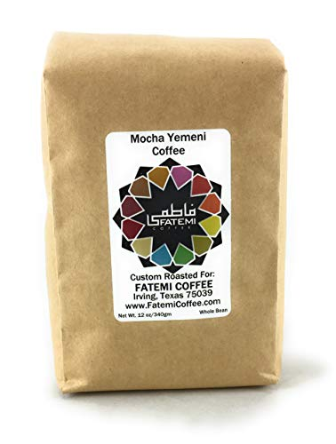 Yemeni Coffee by Fatemi Coffee. Mocha Yemeni 12oz Whole Bean Full City Roasted Authentic Mocha from Yemen