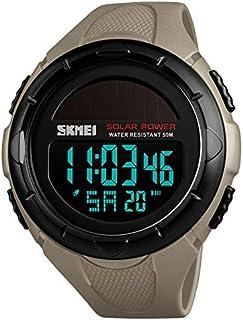 Songlin@yuan 1405 Creative Fashion Solar Power Outdoor Sports Watch Multifunctional Waterproof Men Digital Watch Fashion (Color : Khaki)