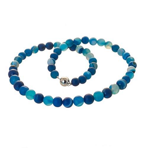 Edelstein Collier Kette Achat blau marmoriert Bella Carina, Edelstahl Magnetverschluss (55)