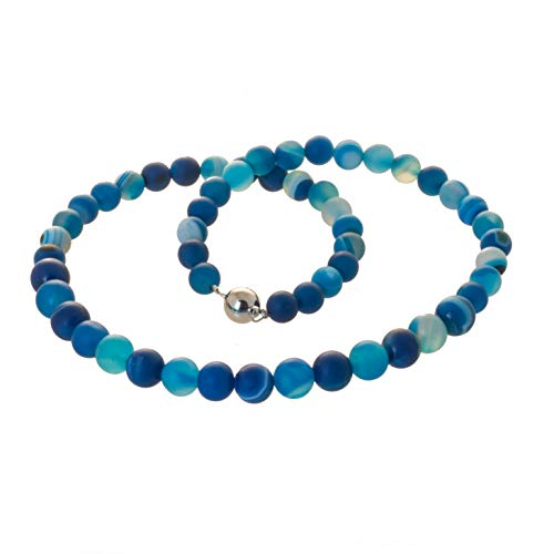 Edelstein Collier Kette Achat blau marmoriert Bella Carina, Edelstahl Magnetverschluss (45)
