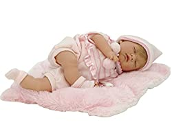 45cm doll with soft body and eyes permanently closed. Head, arms and legs in vinyl Smooth to the touch and scented Reborn baby with cushion included 100% made in Spain according to European quality and safety regulations Favours sensitive play and th...