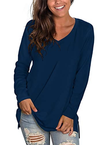 Women Cute Tops Long Sleeve Shirts Fall Clothes Casual Solid Tees Tunic Navy Blue L