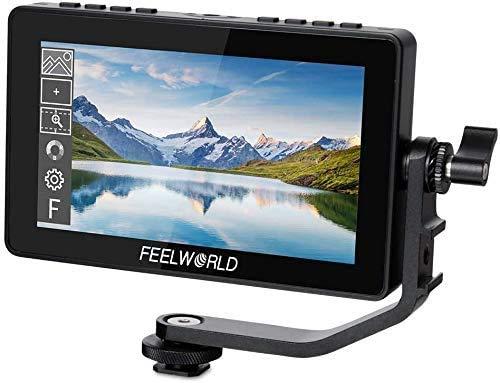 FEELWORLD F5 Pro - Monitor de campo (5,5 pulgadas, 4 K, 1920 x 1080, DSLR, HDMI, pantalla táctil, IPS, FHD, vídeo, entrada de 5 V, tipo C, incluye brazo inclinable (F5 Pro de 5 pulgadas con batería)