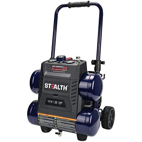 Stealth Ultra Quiet Air Compressor, 64 Decibel 4.5 Gallon Peak 1.3 HP Max 150 PSI, Oil-Free Air...